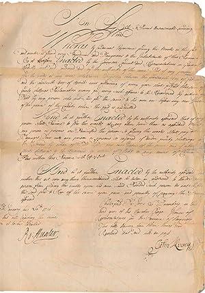 Document Signed: HUNTER, Robert (1664-1734)