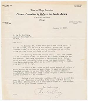 Typed Letter Signed: PIEZ, Charles (1866-1933)