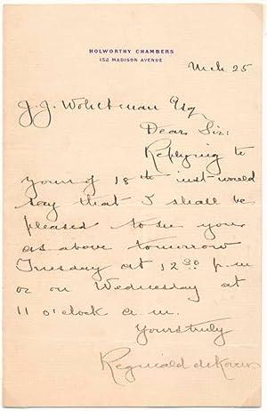 Autograph Letter Signed.: DE KOVEN, Reginald (1859-1920).
