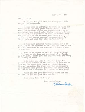 Typed Letter Signed.: GISH, Lillian (1896-1993).