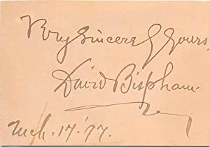 Signature and Inscription.: BISPHAM, David (1857-1921).