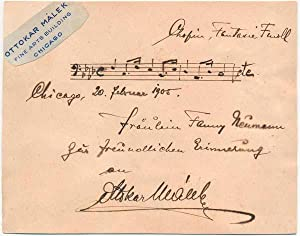 Autograph Musical Quotation Signed: MALEK, Ottokar (1875-?)