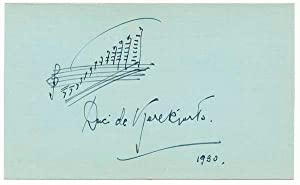 Autograph Musical Quotation Signed: DE KEREKJARTO, Duci (1900-62)