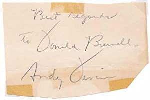 Signature and Inscription / Unsigned Postcard Photograph: DEVINE, Andy (1905-77)