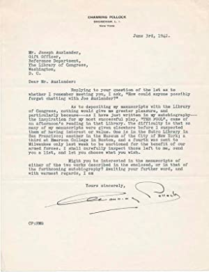 Archive of 5 Typed Letters Signed.: POLLOCK, Channing (1880-1946).