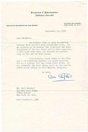 Typed Letter Signed: CANFIELD, Cass (1897-1986)