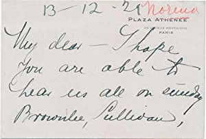 Autograph Note Signed: NORENA, Eide (1884-1968)