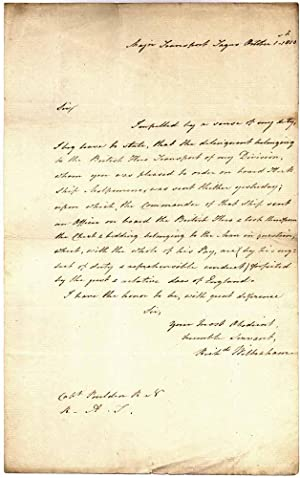 Autograph Letter Signed.: WILBRAHAM, Richard (?-?).