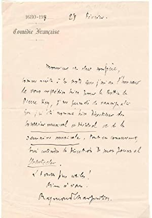 Autograph Letter Signed.: CHARPENTIER, Raymond (1880-1960).