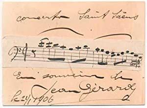 Autograph Musical Quotation Signed.: GERARDY, Jean (1877-1929).