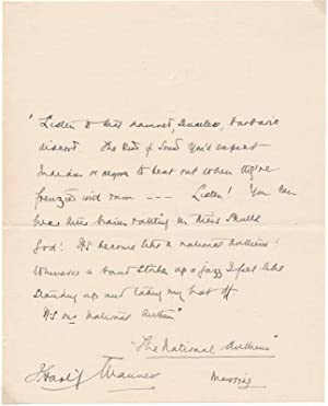 Autograph Quotation Signed.: MANNERS, J. Hartley (1870-1928).