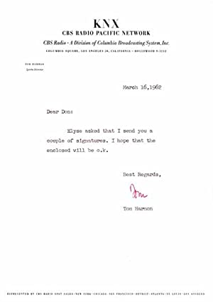 Typed Note Signed.: HARMON, Tom (1919-90).