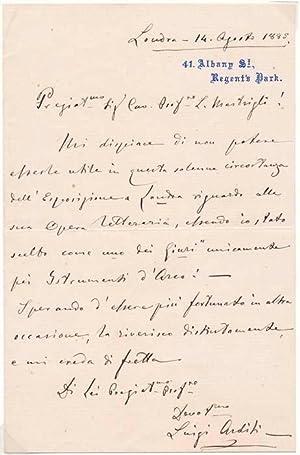 Autograph Letter Signed: ARDITI, Luigi (1822-1903)