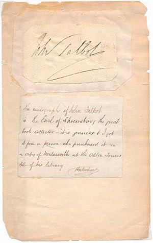 Signature: SHREWSBURY, 16th Earl of (John Talbot) (1791-1852)