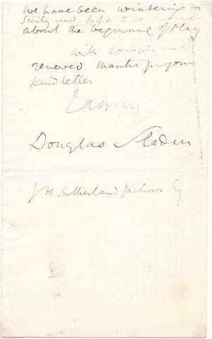 Autograph Letter Signed.: SLADEN, Douglas (?-?).