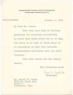 Typed Letter Signed: COMPTON, Karl T. (1887-1954)