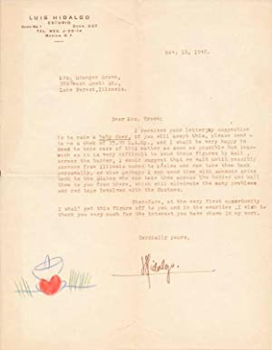 Typed Letter Signed.: HIDALGO, Luis (1899-1967).