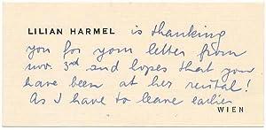 Autograph Note Signed: HARMEL, Lilian (1908-82)