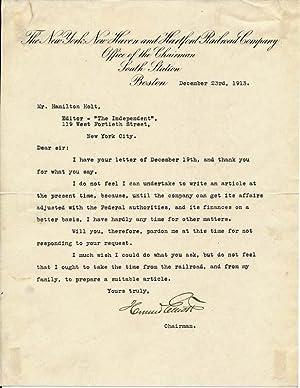 Typed Letter Signed: ELLIOTT, Howard (1860-?)