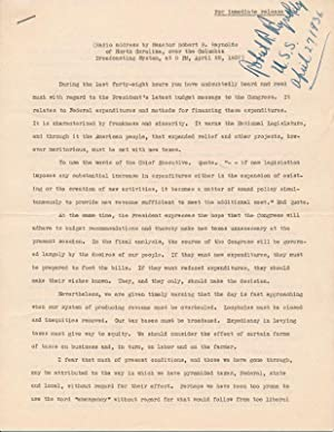 Typed Note Signed / Typed Manuscript Signed.: REYNOLDS, Robert R. (1884-1963).