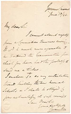 Autograph Letter Signed: CLARENDON, George William Frederick Villiers (1800-70)