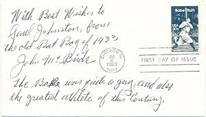 Inscribed First Day Cover.: RUTH, Babe). McBRIDE, John (?-?).