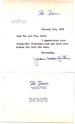 Typed Note Signed.: MacARTHUR, Jean (1898-2000).