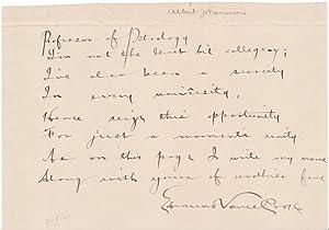 Autograph Quotation Signed: COOKE, Edmund Vance (1866-1932)