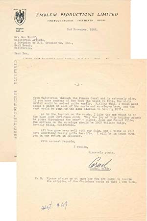 Typed Letter Signed.: WILDE, Cornel (1915-89).