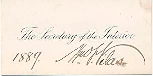 Signed Calling Card.: VILAS, William F. (1840-1908).