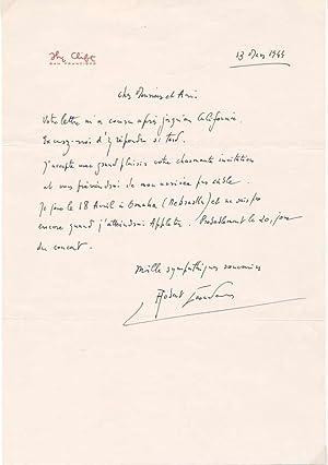 Autograph Letter Signed.: CASADESUS, Robert (1899-1972).
