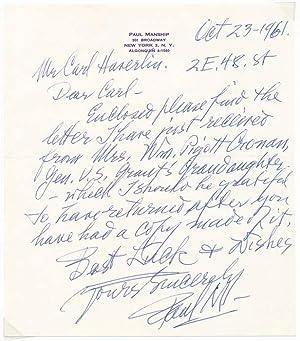Autograph Letter Signed / Unsigned Photograph.: MANSHIP, Paul (1885-1966).