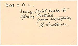 Autograph Note Signed.: FAULKNER, Barry (1881-1966).