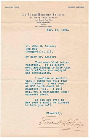 Typed Letter Signed.: LA FORGE, Frank (1877-1953).