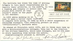 Signed First Day Cover: BATTISTA, Orlando A. (1917-?)