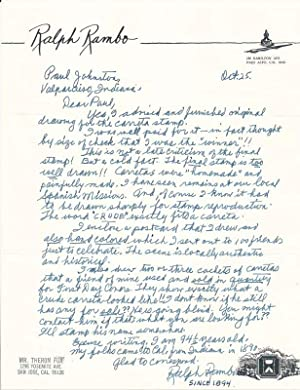 Autograph Letter Signed.: RAMBO, Ralph (1894-1990).