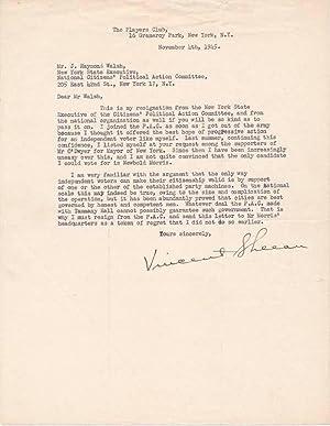 Typed Letter Signed.: SHEEAN, Vincent (1899-1975).