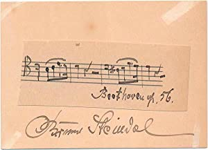 Autograph Musical Quotation Signed.: STEINDEL, Bruno (1866-1949).