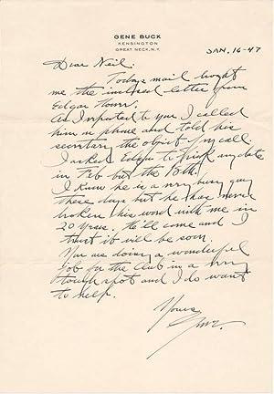 Autograph Letter Signed: BUCK, Gene (1886-1957)