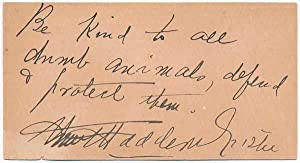 Autograph Quotation Signed.: FISKE, Minnie Maddern (1865-1932).