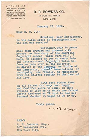 Typed Letter Signed.: BOWKER, R.R. (1848-1933).