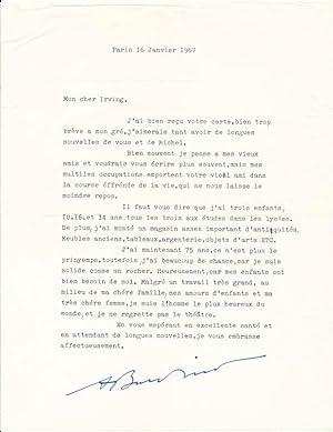 Typed Letter Signed.: BURDINO, Andre (1891-1987).