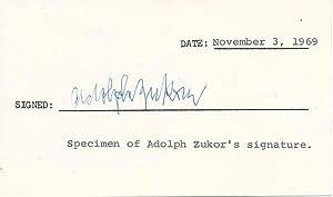 Signature.: ZUKOR, Adolph (1873-1976).