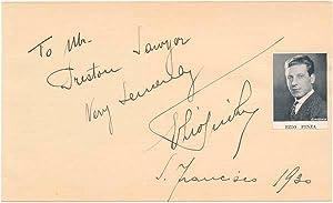 Signature and Inscription.: PINZA, Ezio (1892-1957).