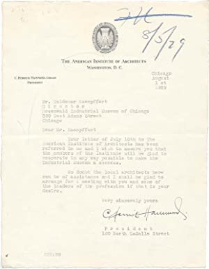 Typed Letter Signed.: HAMMOND, C. Herrick (1882-1969).
