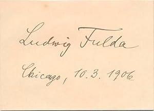 Signature.: FULDA, Ludwig (1862-1939).