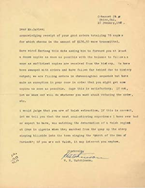 Typed Letters Signed (2): HUTCHINSON, William Henry (1910-90)