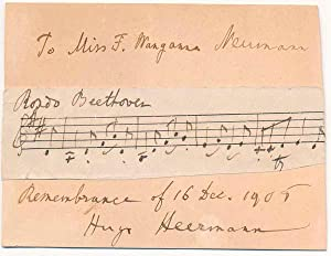 Autograph Musical Quotation Signed.: HEERMAN, Hugo (1844-1935).