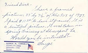 Signature / Autograph Note Signed: CONNALLY, George W.