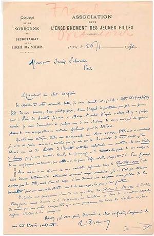 Autograph Letter Signed: BRANCOUR, Rene (1862-1948)
